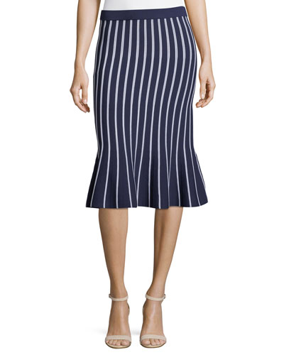 Vertical Stripe Trumpet Midi Skirt