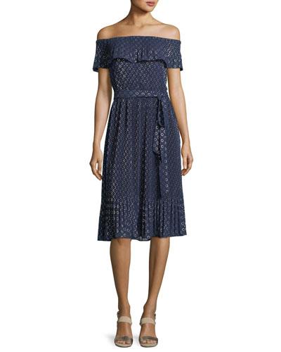 Off-the-Shoulder Rope Dot Dress
