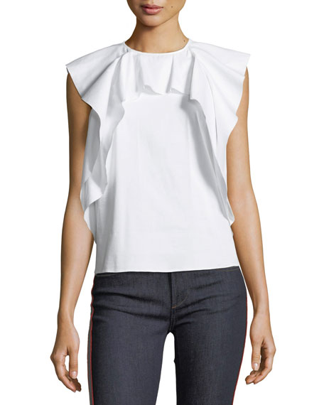 Ruffled Sleeveless Poplin Top