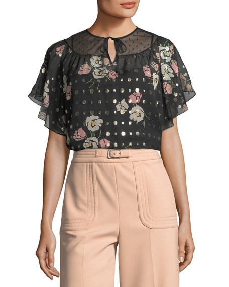 REDValentino Poppy Floral-Print Silk-Blend Blouse and Matching