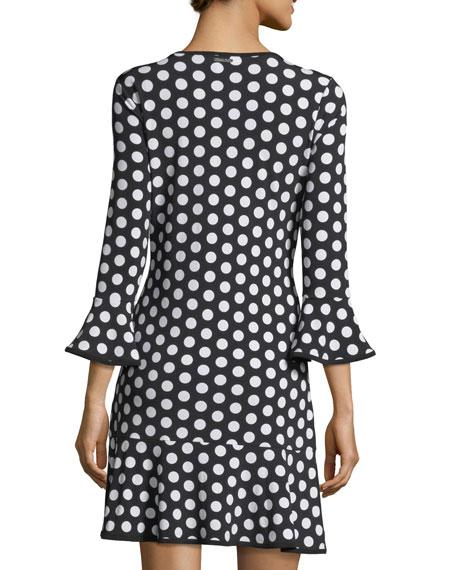 Simple Dot Flounce Shift Dress