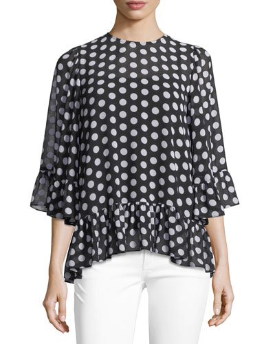 Simple Dot Ruffle Top