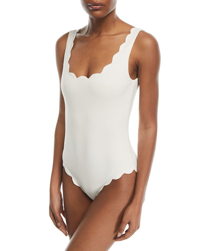 Palm Springs Scalloped One-Piece Swimsuit, Kava