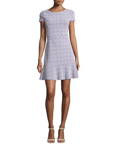 Jacquard Knit Flounce Dress