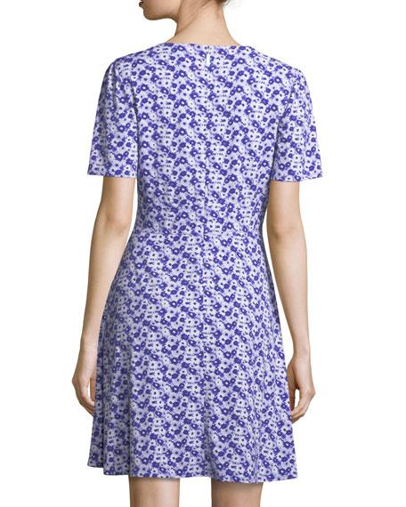Carnations Floral-Print V-Neck Dress