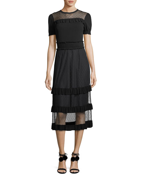 REDValentino Point d'Esprit Paneled Crepe Dress