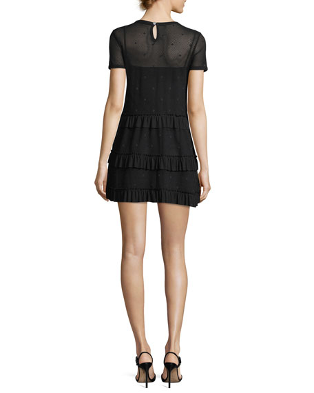 Short-Sleeve Mesh Tiered Ruffle Dress