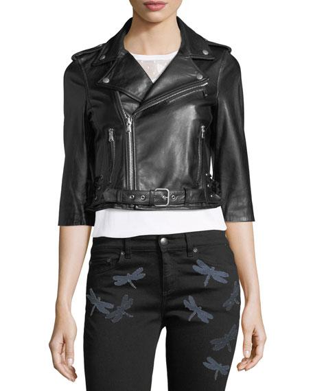3/4-Sleeve Dragonfly Leather Moto Jacket