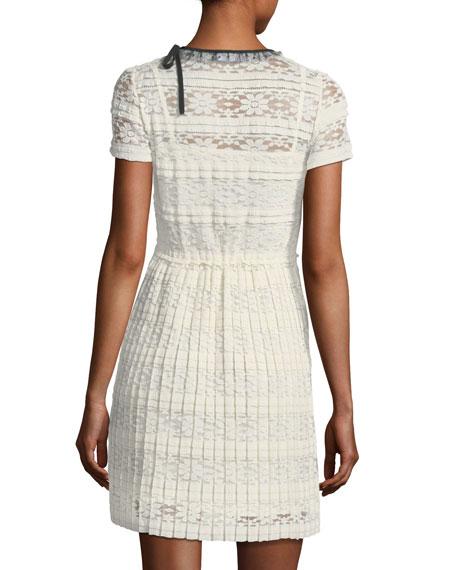 Jersey Lace Short-Sleeve Dress