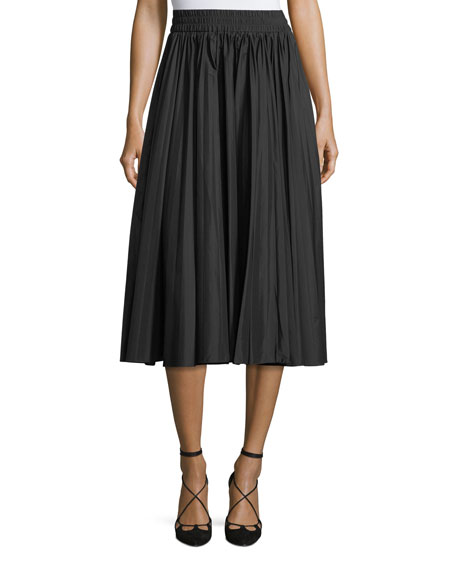 Pleated Stretch-Knit Midi Skirt