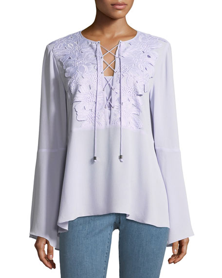 Lace-Bib Top with Kimono Sleeves