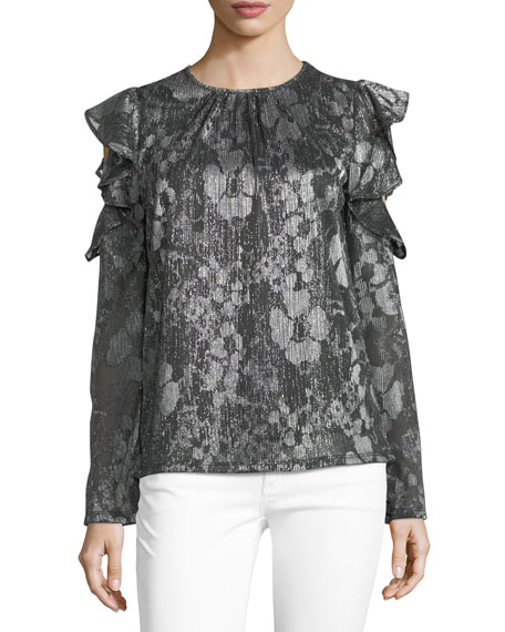 MICHAEL Michael Kors Ruffled Cold-Shoulder Top