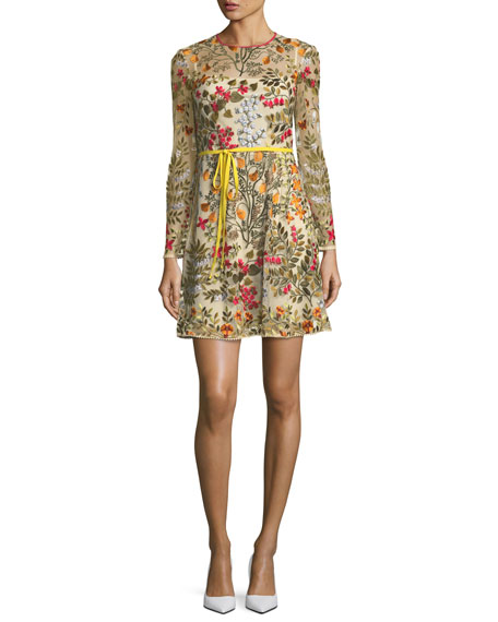 Floral Vines Embroidered-Tulle Dress