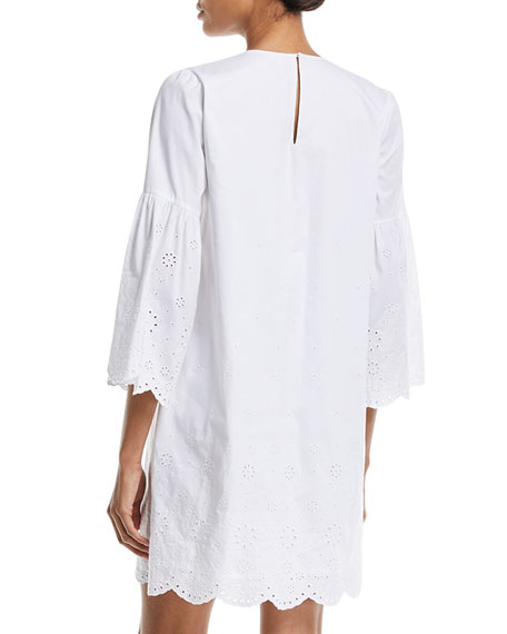 3/4-Sleeve Eyelet-Trim Shift Dress