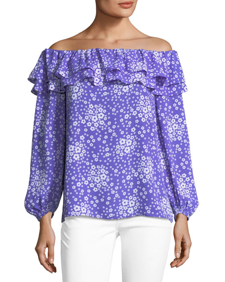 MICHAEL Michael Kors Off-the-Shoulder Mod-Floral Top
