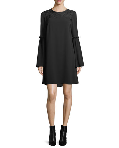 Bell-Sleeve Lace-Yoke Shift Dress