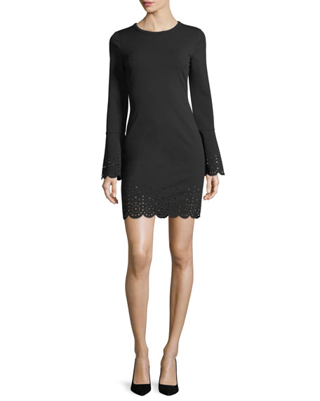 Laser-Cut Trim Bell-Sleeve Dress
