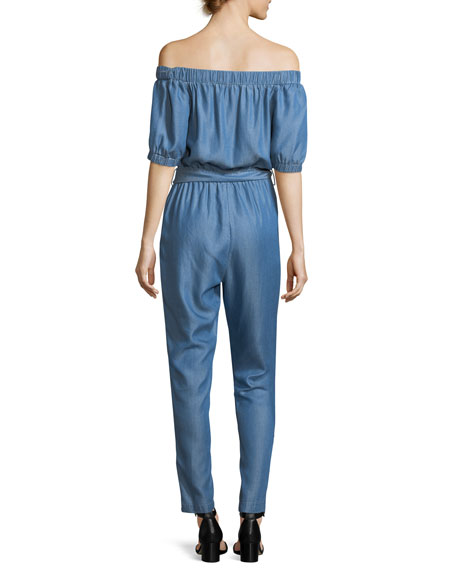 Off-the-Shoulder Stretch-Chambray Jumpsuit