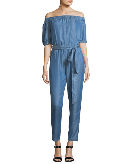 MICHAEL Michael Kors Off-the-Shoulder Stretch-Chambray Jumpsuit