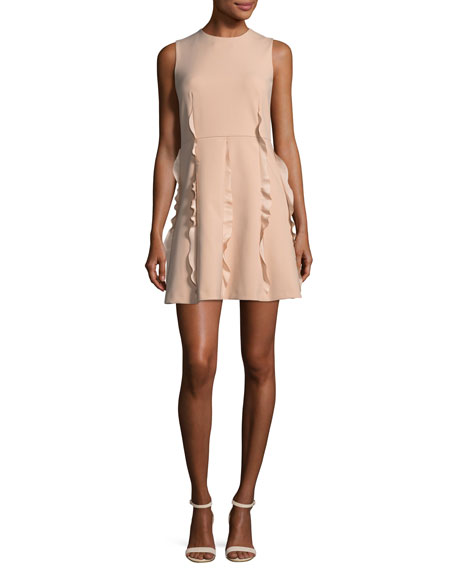 Ruffle-Skirt Crepe-de-Chine Dress