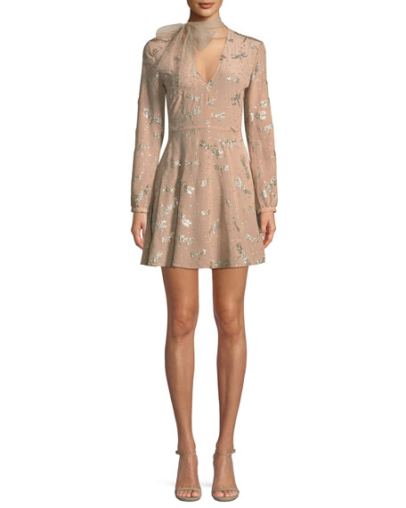 REDValentino Glitter Dragonflies Silk Crepe Dress