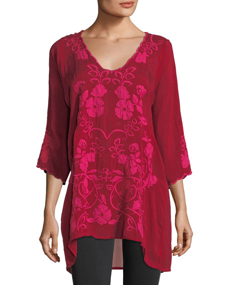 Johnny Was Sheradonian Floral-Applique Georgette Tunic and