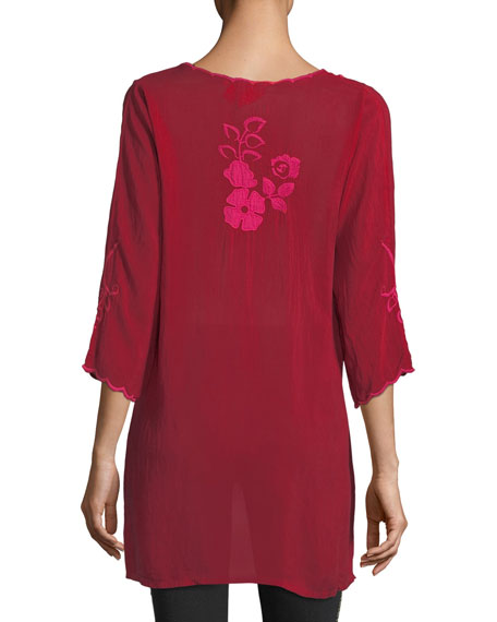 Sheradonian Floral-Applique Georgette Tunic