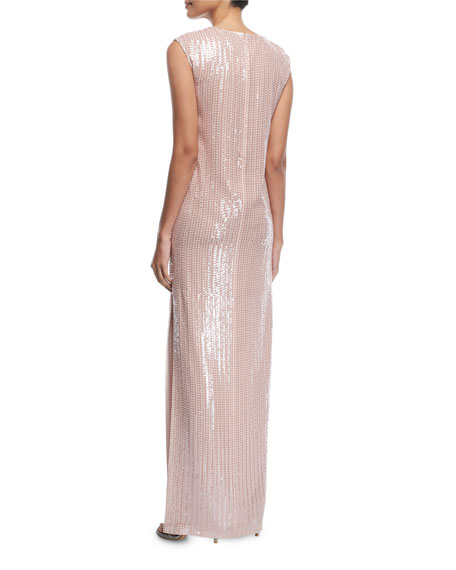 Sleeveless Hand-Beaded Column Gown