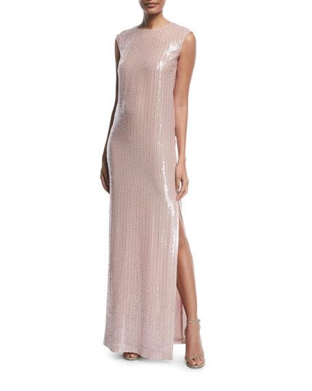 Sleeveless Hand-Beaded Column Gown
