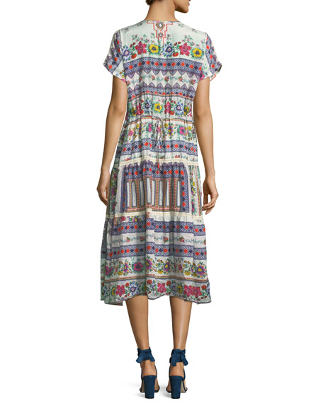 Charm Printed Tiered Midi Dress