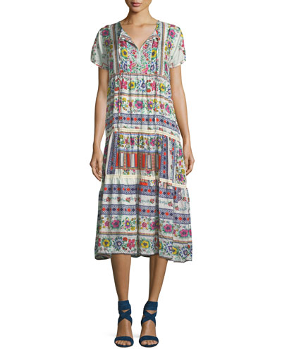 Charm Printed Tiered Midi Dress
