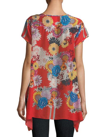 Dolce Floral-Print Drapey Top, Plus Size