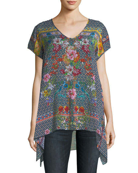 Johnny Was Dolce Drapey Printed Top, Plus Size