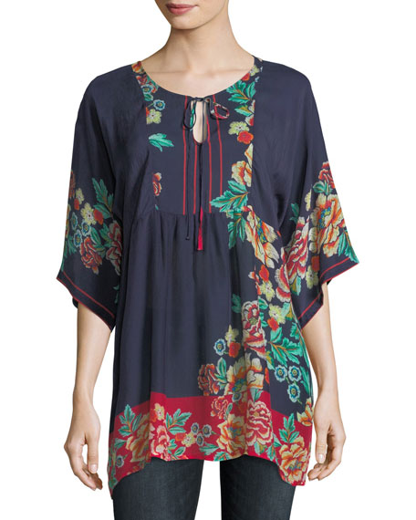 Johnny Was Charming Floral-Print Pintuck Top, Plus Size