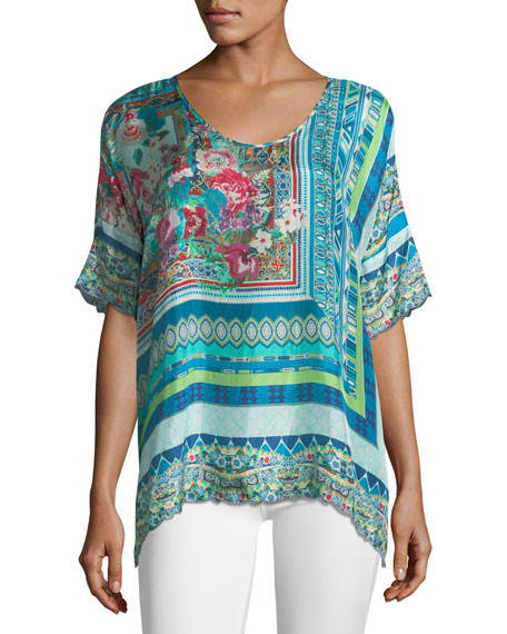 Johnny Was Botanica Silk Georgette Floral Top, Plus