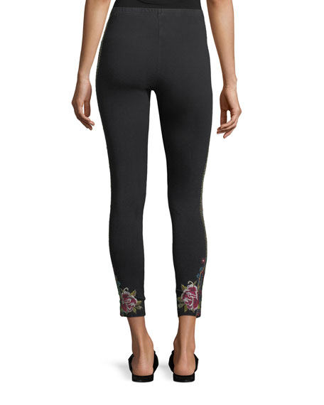 Langley Embroidered Cropped Leggings, Plus Size
