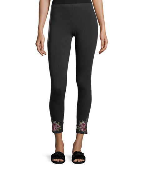 Johnny Was Langley Embroidered Cropped Leggings
