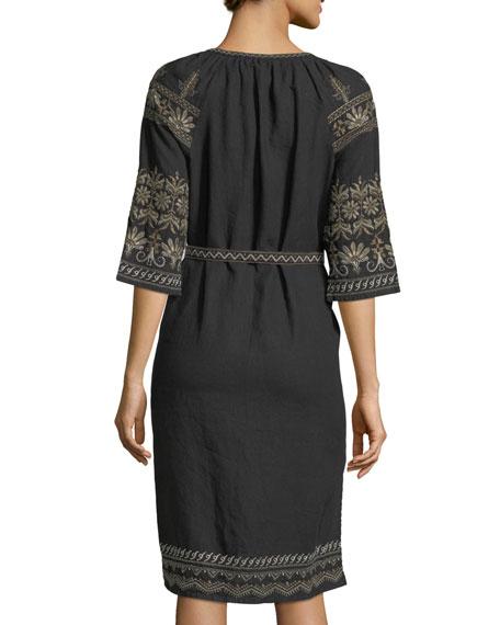 Sean Peasant Embroidered Linen Dress, Black