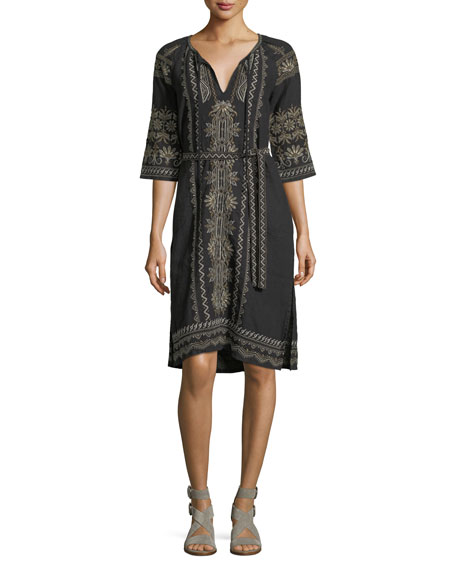 Johnny Was Sean Peasant Embroidered Linen Dress, Black