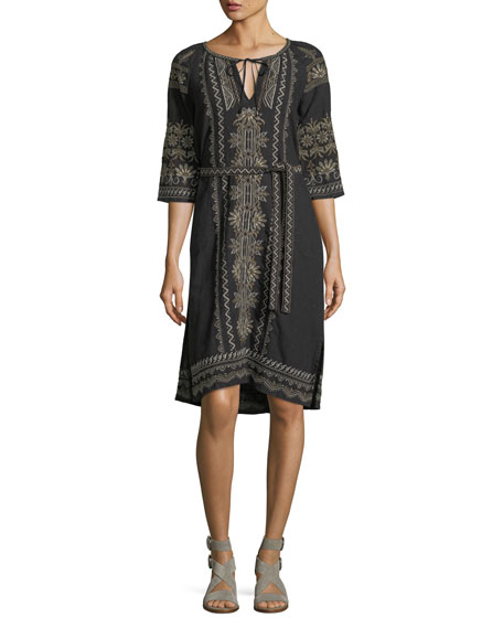 Sean Peasant Embroidered Linen Dress, Plus Size