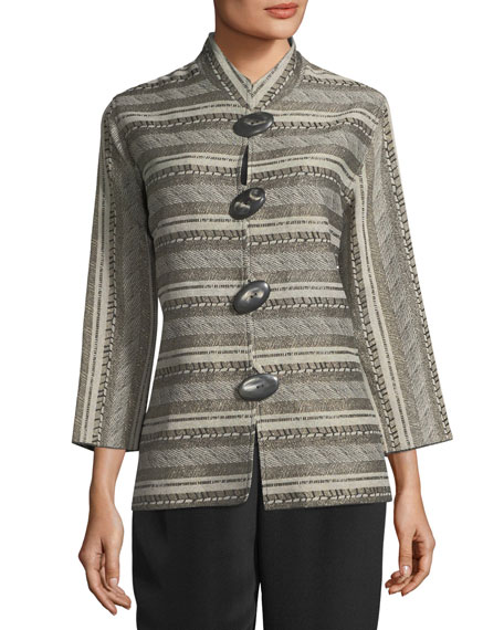 Mixed Striped Jacquard Jacket, Plus Size