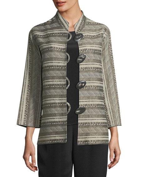 Caroline Rose Mixed Striped Jacquard Jacket, Plus Size