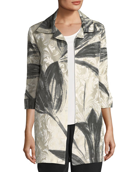 Caroline Rose Natural Light Jacquard Jacket, Plus Size
