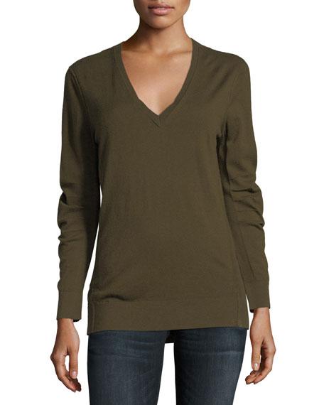 Burberry Cashmere V-Neck Sweater, Khaki Green