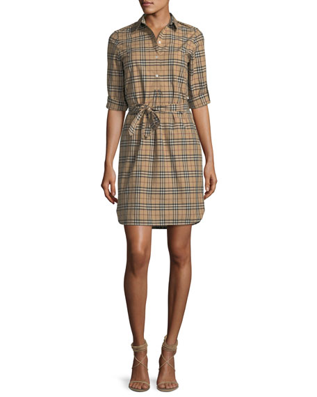 Burberry Check-Print Belted Tunic Dress