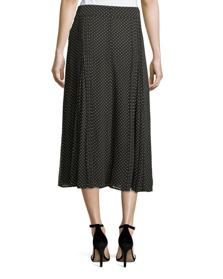 Pin-Dot Silk Pleated Midi Skirt