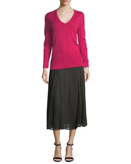 Pin-Dot Silk Pleated Midi Skirt