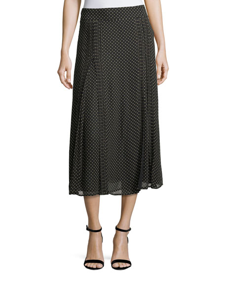 Burberry Pin-Dot Silk Pleated Midi Skirt