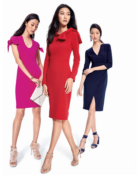 Self-Tie Short-Sleeve Sheath Dress