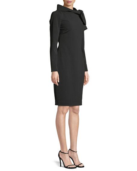 Long-Sleeve Self-Tie Sheath Dress